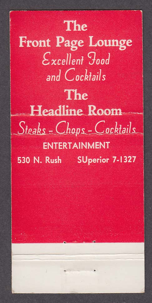 Front Page Lounge Headline Room 530 North Rush Chicago IL matchcover