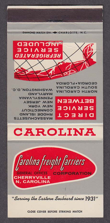 Carolina Freight Carriers Cherryville NC matchcover
