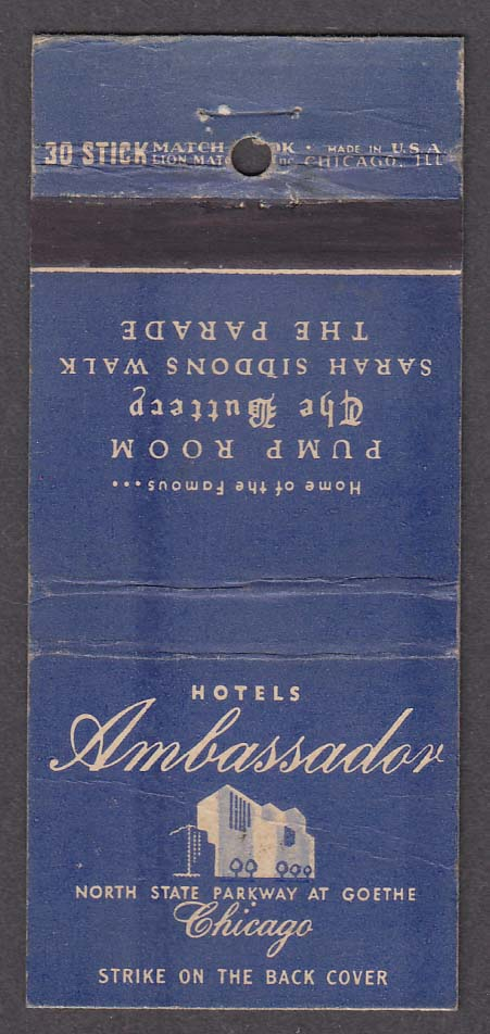 Hotel Ambassador East Chicago IL matchcover