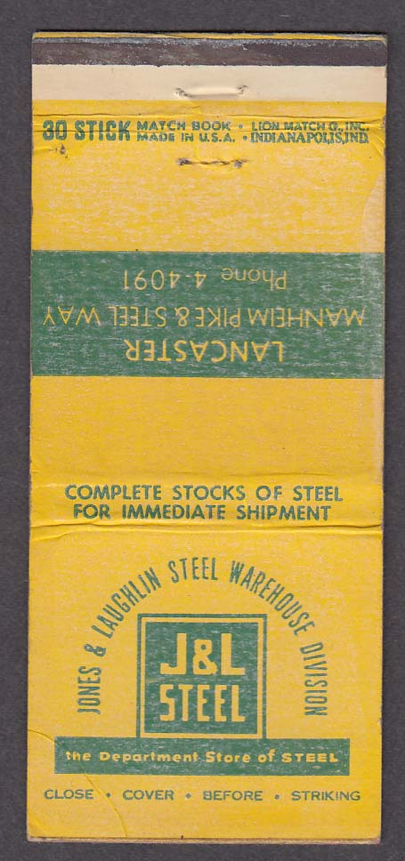 J&L Steel Jones & Laughlin Warehouse Division Lancaster PA matchcover