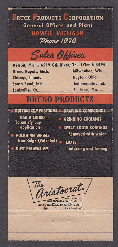 Bruko Products Bruce Products Corporation Howell MI matchcover