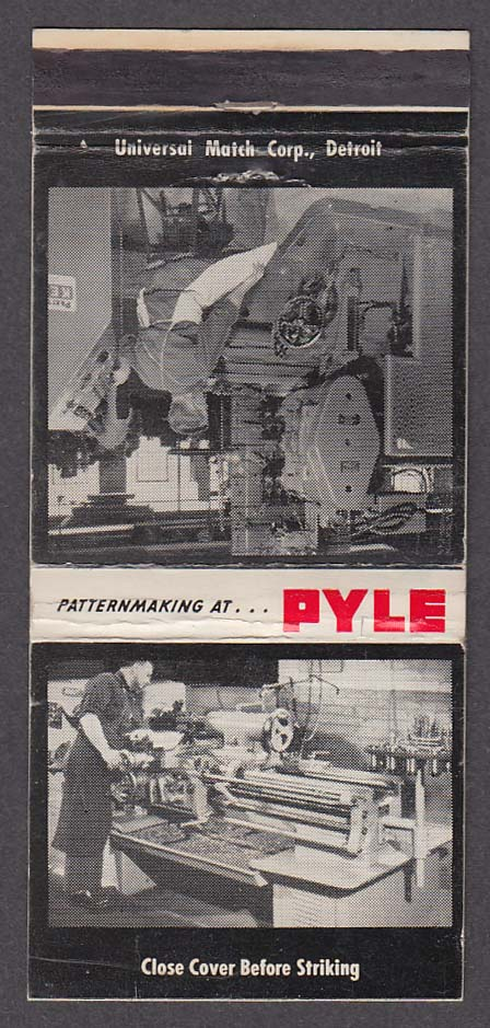 Patternmaking at Pyle Pattern & Manufacturing Co Muskegon Heights MI matchcover