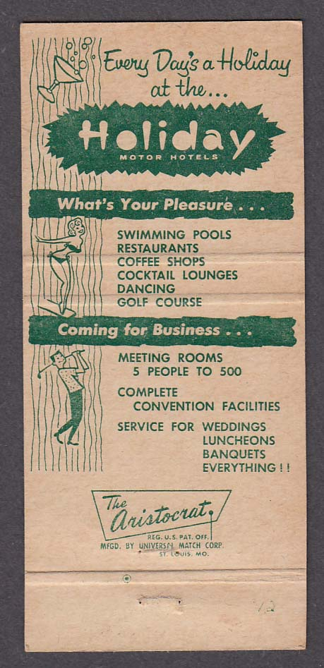 Holiday Motor Hotels East Inntown West Harrisburg PA matchcover