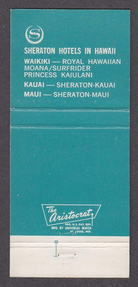 Sheraton Hotel Kaanapali Beach Maui HI matchcover