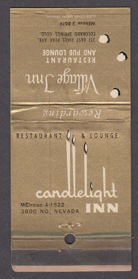 Village Inn 217 East Pikes Peak Ave Colorado Springs CO Candlelight matchcover