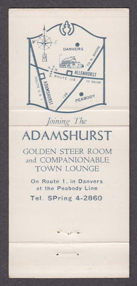 Allenhurst 101 Andover St Danvers MA matchcover