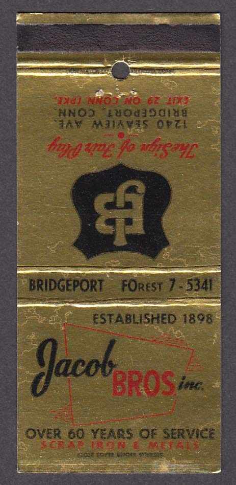 Jacob Bros Inc Scrap Iron & Metals 1240 Seaview Ave Bridgeport CT matchcover