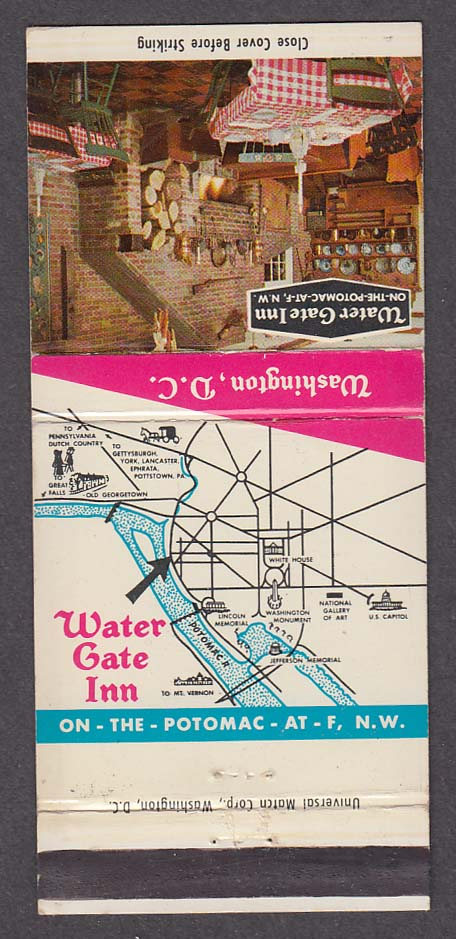 Water Gate Inn Famous Hot Popovers Washington DC matchcover