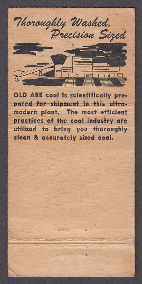 Old Abe Coal Peerless Coal Company 317 23rd St Moline IL matchcover