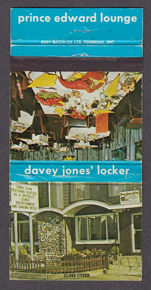 Davey Jones' Locker 22 Weymouth Charlottetown Prince Edward Island matchcover