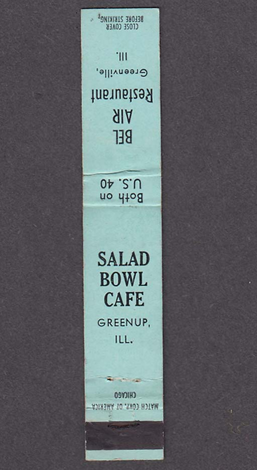 Salad Bowl Café Greenup IL Bel Air Restaurant Greenville IL matchcover