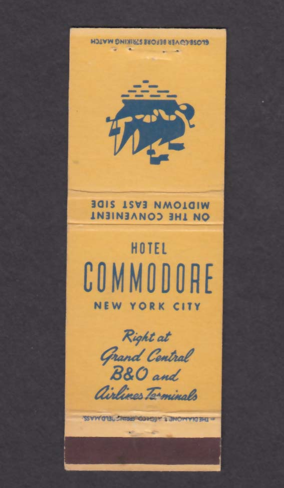 Hotel Commodore New York City NY matchcover