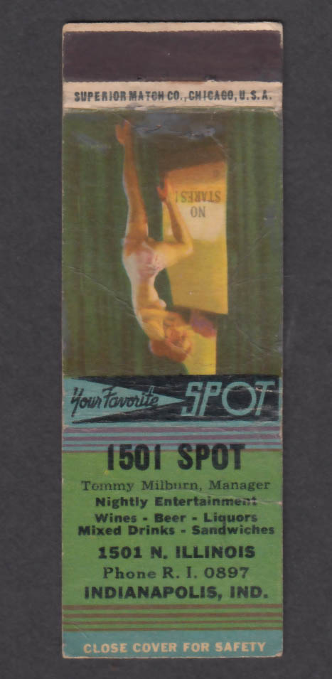 1501 Spot Tommy Milburn 1501 N Illinois Indianapolis IN matchcover