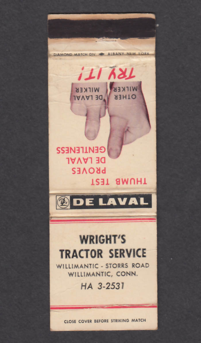 Image for De Laval Wright's Tractor Service Willimantic CT matchcover