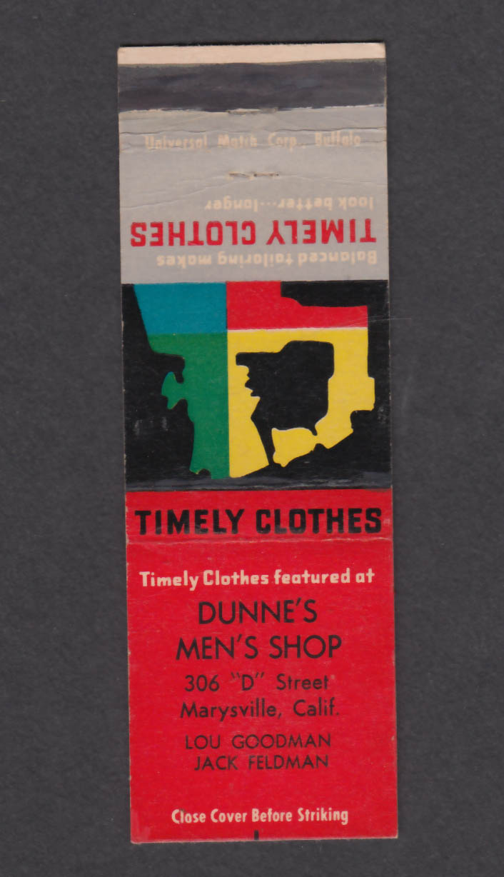 Image for Timely Clothes Dunne's Men's Shop 306 D St Marysville CA matchcover