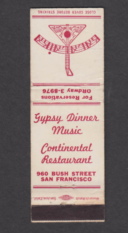 Image for Continental Restaurant 960 Bush St San Francisco CA matchcover