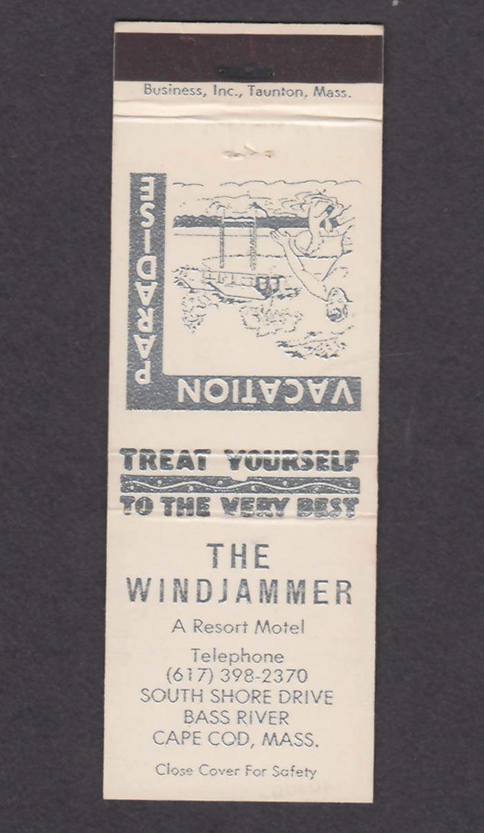 Image for The Windjammer Motel South Shore Drive Bass River Cape Cod MA matchcover