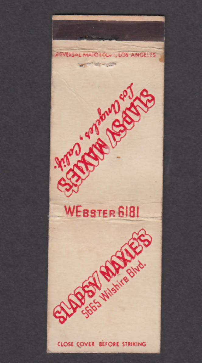 Image for Slapsy Maxie's 5665 Wilshire Blvd Los Angeles CA matchcover