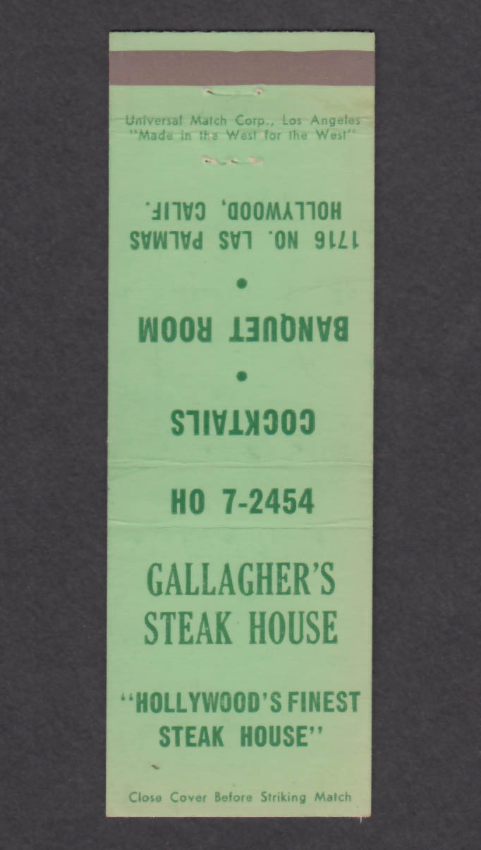 Image for Gallagher's Steak House 1716 No Las Palmas Hollywood CA matchcover