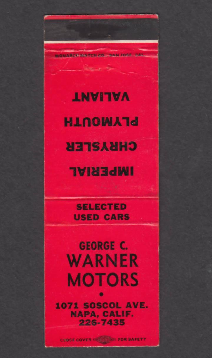 Image for George C Warner Motors 1071 Soscol Ave Napa CA matchcover
