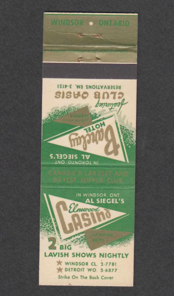 Image for Al Siegel's Barclay Hotel Club Oasis Elmwood Casino matchcover