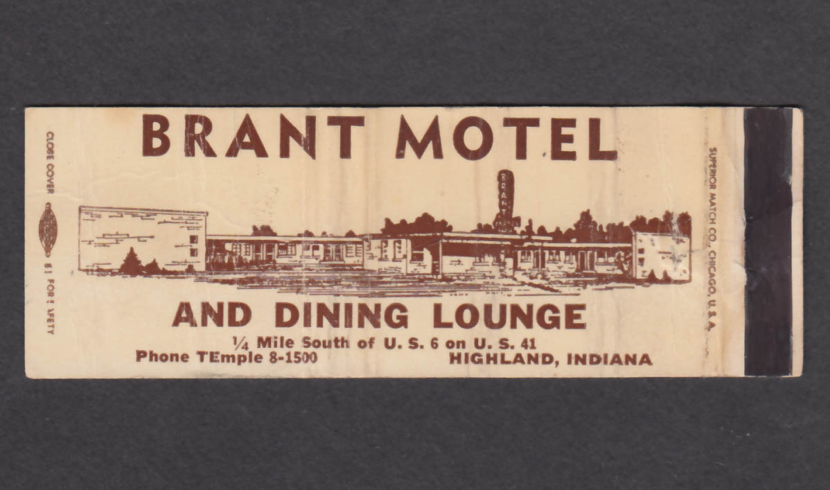Image for Brant Motel & Dining Lounge Highland IN matchcover