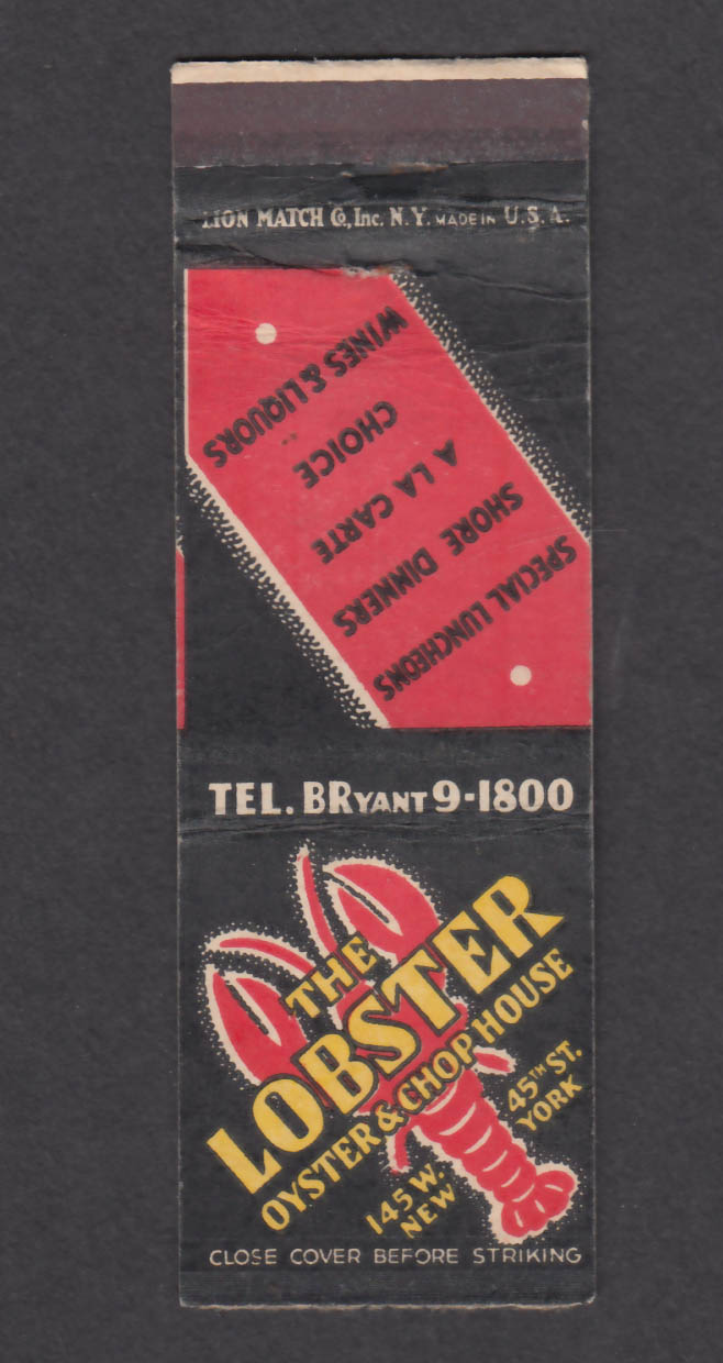 Image for The Lobster Oyster & Chop House 145 W 45th St New York NY matchcover