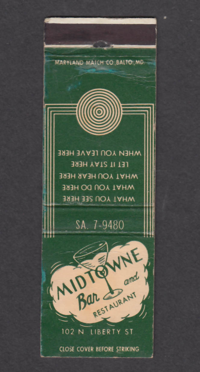 Image for Midtowne Bar & Restaurant 102 N Liberty St Baltimore MD matchcover