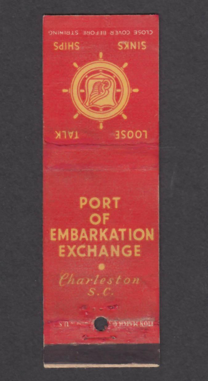 Image for Port of Embarkation Exchange Charleston SC matchcover