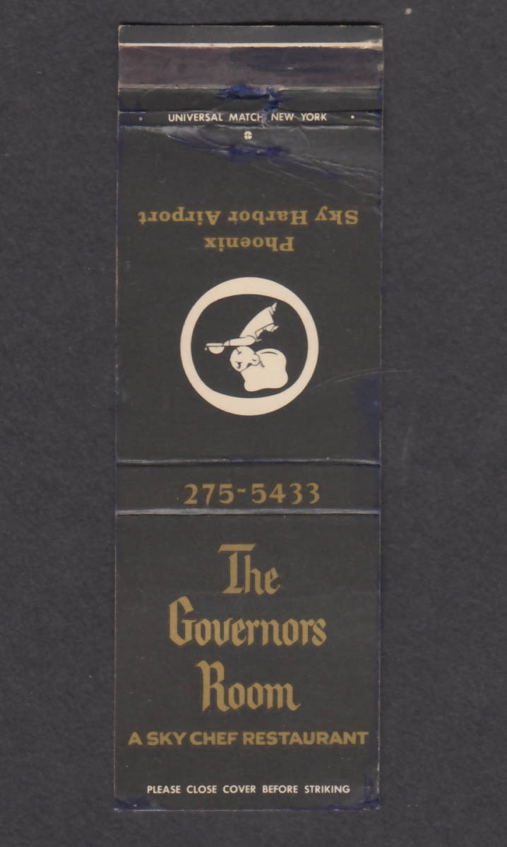 Image for The Governors Room Sky Chef Restaurant Phoenix Sky Harbor Airport matchcover