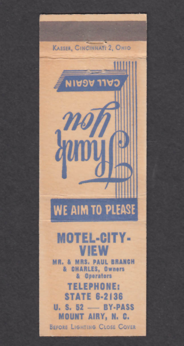 Image for Motel-City-View Mount Airy NC matchcover