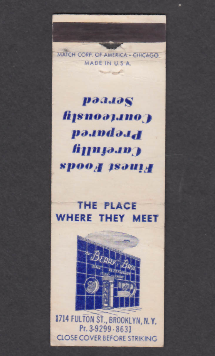 Image for Berry Bros Bar Restaurant 1714 Fulton St Brooklyn NY matchcover