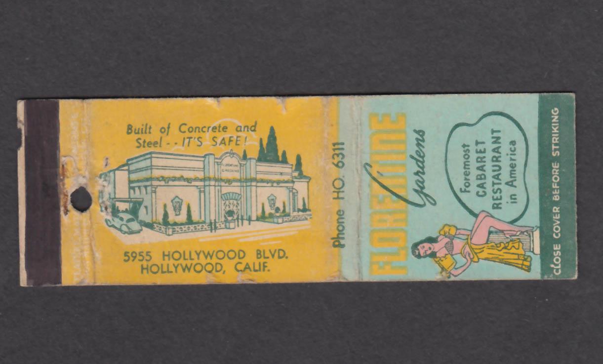 Image for Florentine Gardens Cabaret Restaurant 5955 Hollywood Blvd CA matchcover