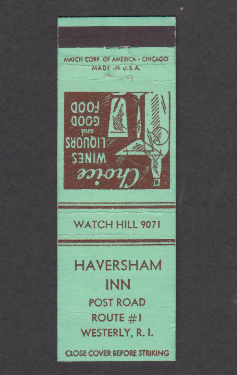Image for Haversham Inn Post Road Route #1 Westerly RI matchcover