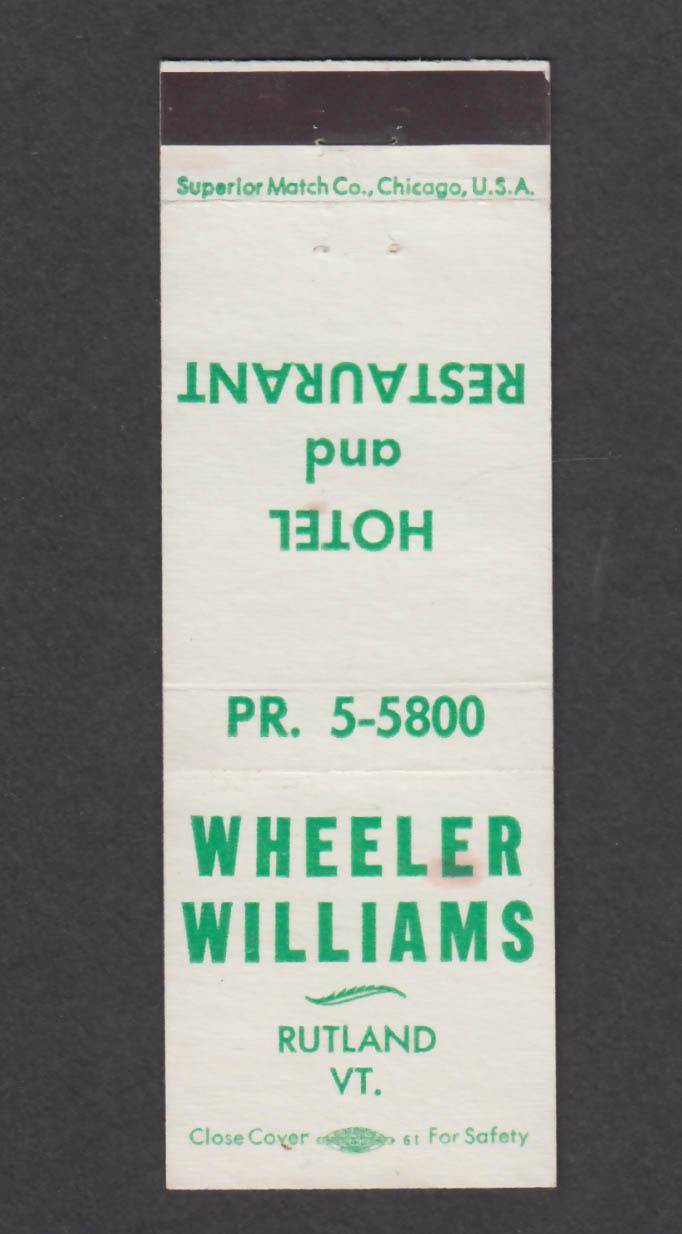 Image for Wheeler Williams Hotel & Restaurant Rutland VT matchcover