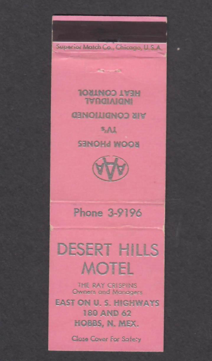 Image for Desert Hills Motel Hobbs NM matchcover