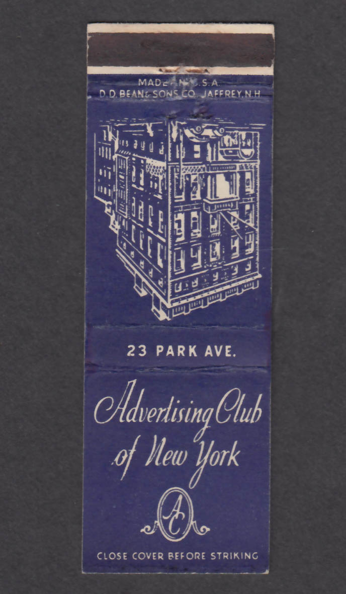Image for Advertising Club of New York 23 Park Ave NY matchcover