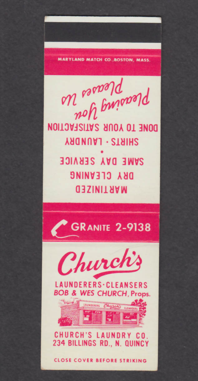 Image for Church's Laundry Co 234 Billings Rd N Quincy MA matchcover