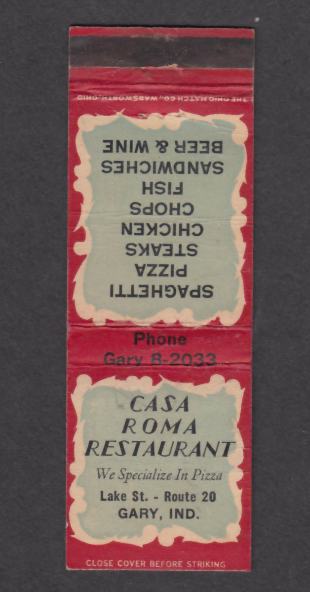 Image for Casa Roma Restaurant Lake St Route 20 Gary IN matchcover