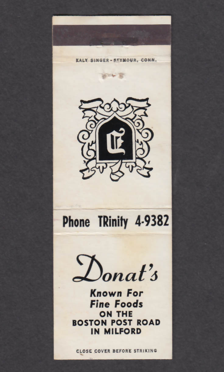 Image for Donat's Boston Post Road Milford CT matchcover