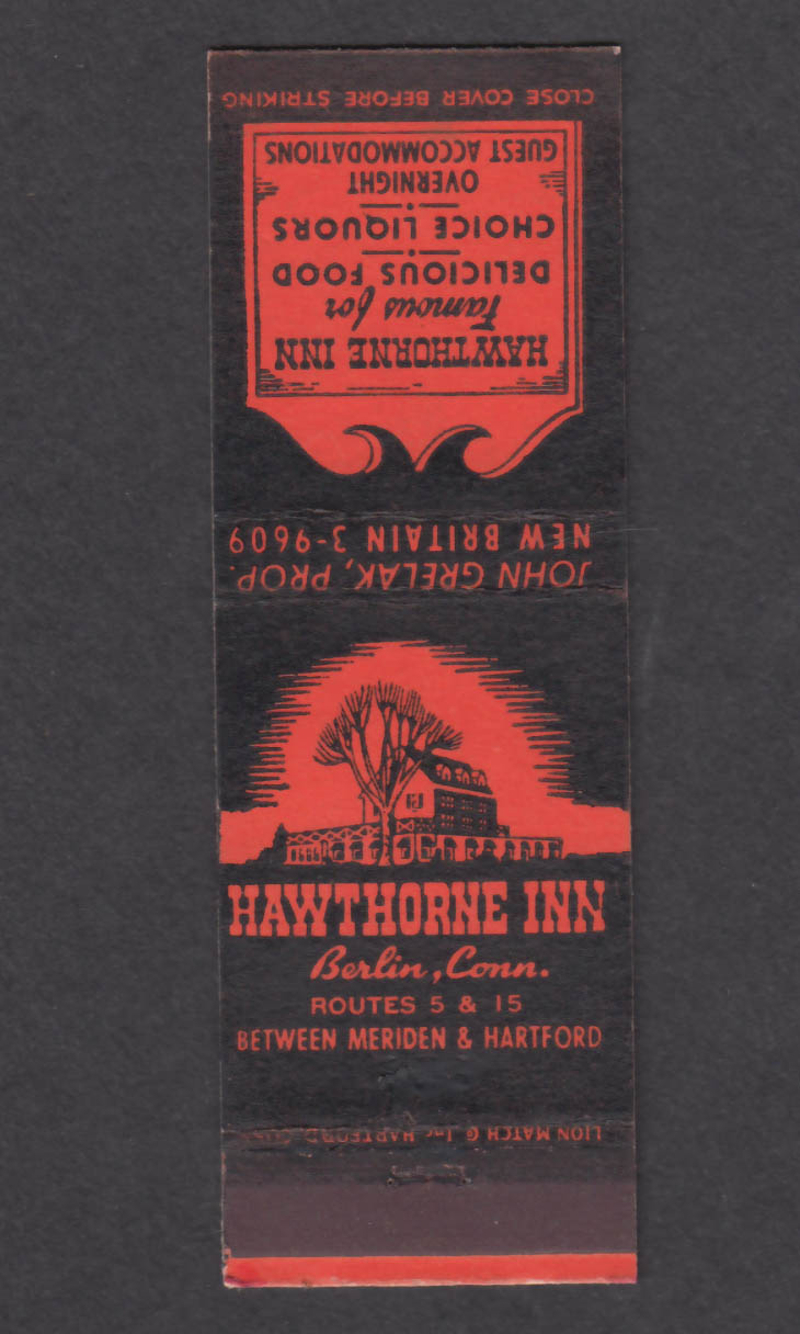 Image for Hawthorne Inn Berlin CT matchcover