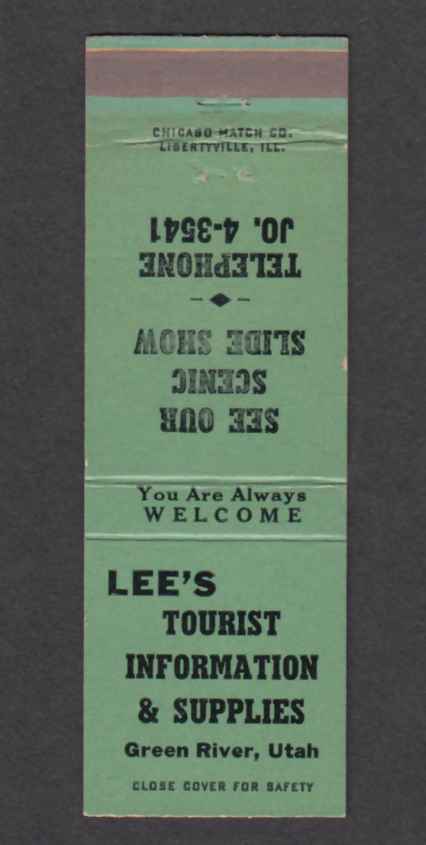 Image for Lee's Tourist Information & Supplies Green River UT matchcover