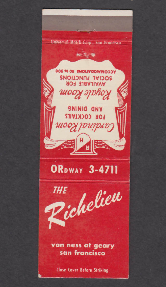 Image for The Richelieu Van Ness & Geary San Francisco CA matchcover