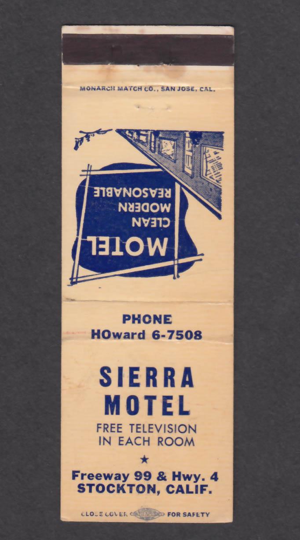 Image for Sierra Motel Stockton CA matchcover