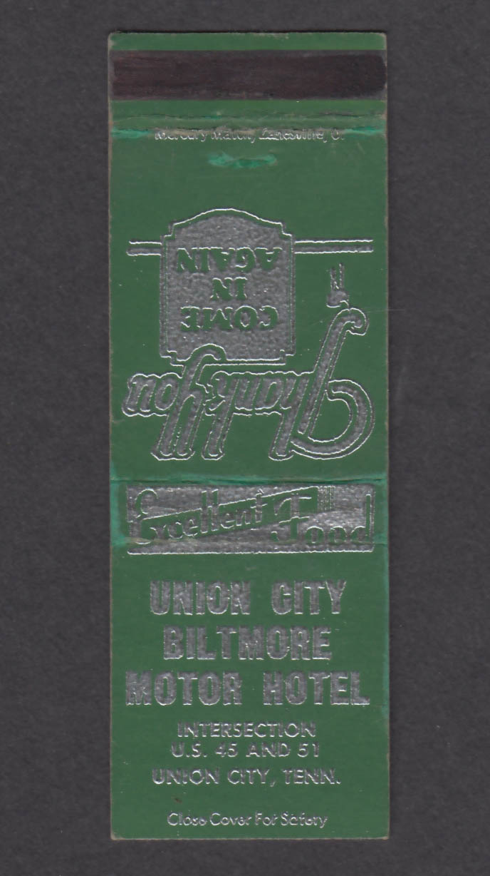 Image for Union City Biltmore Motor Hotel Union City TN matchcover