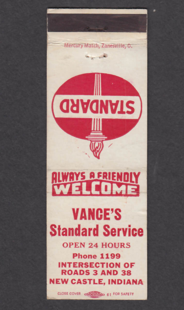 Image for Vance's Standard Service New Castle IN matchcover
