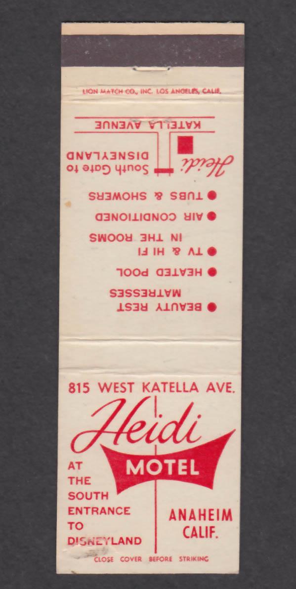 Image for Heidi Motel Anaheim CA matchcover