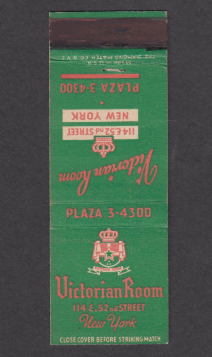 Image for Victorian Room 114 E 52nd St New York NY matchcover