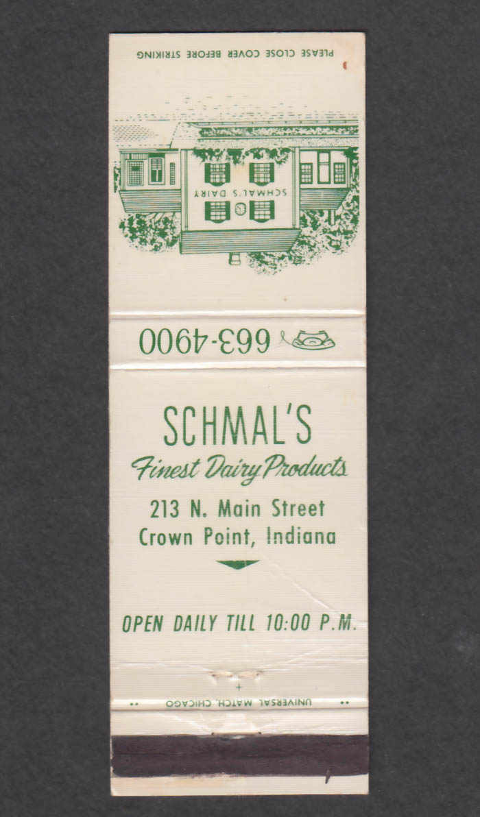 Image for Schmal's Dairy 213 N Main St Crown Point IN matchcover