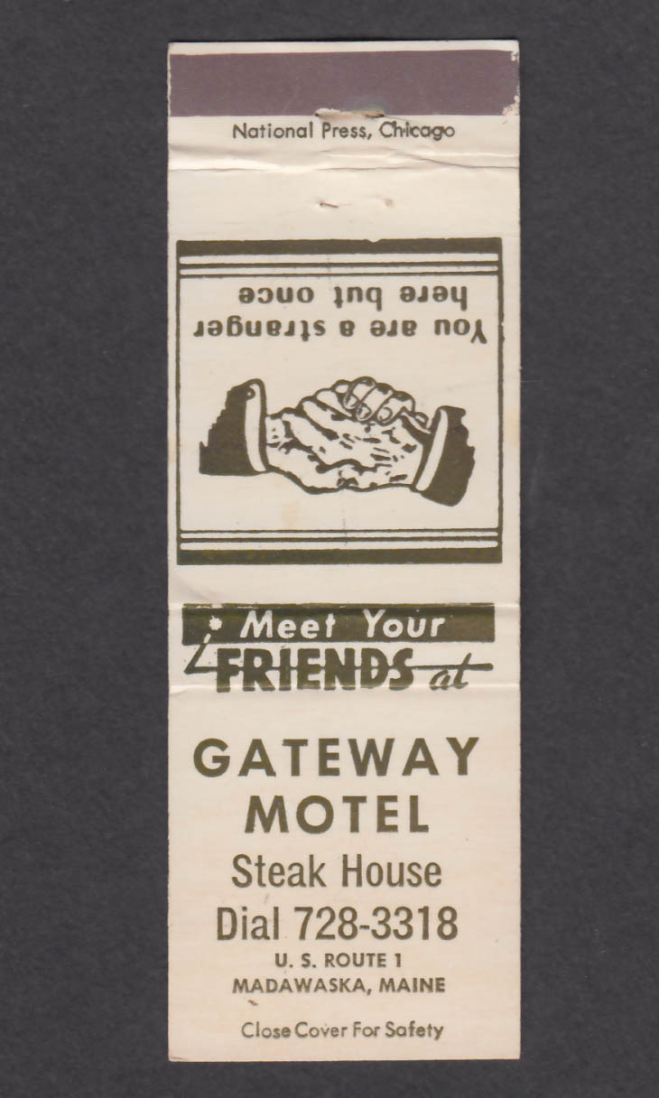 Image for Gateway Motel Steak House Madawaska ME matchcover
